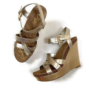 Sam Edelman Gold Nelson Wedge Sandal | 10